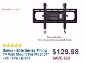 "Best Buy Weekly Ad: Sanus Tilting TV Wall Mount For Most 37""-95"" TVs - Black for $129.98"