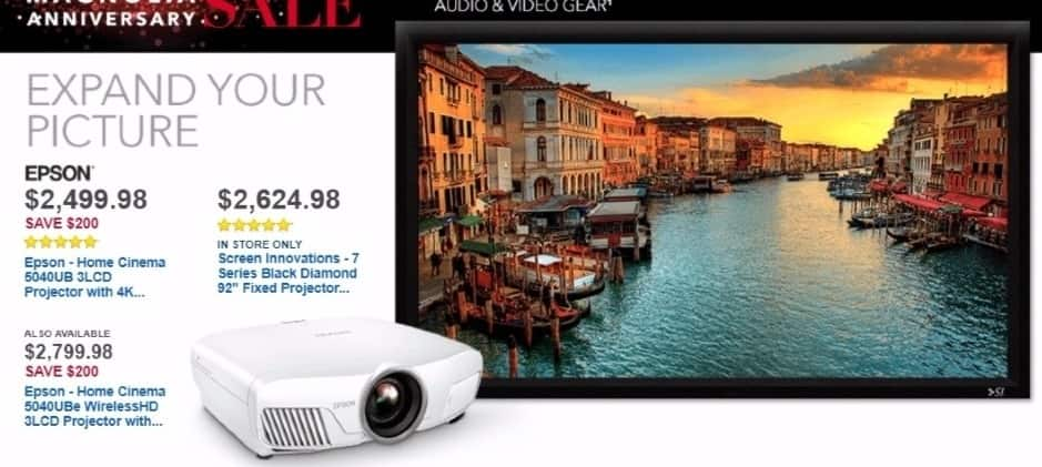 Best Buy Weekly Ad: Epson Home Cinema 1080p 3D 3LCD Projector with HDR for $2,799.98