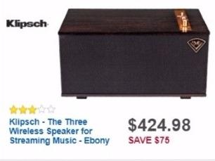 Best Buy Weekly Ad: Klipsch the Three Wireless Speaker - Ebony for $424.98