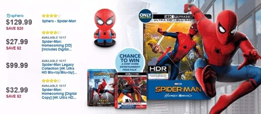 Best Buy Weekly Ad: Spider-Man: Homecoming [3D] [Includes Digital Copy] [Blu-ray] [Blu-ray/Blu-ray 3D] [2017] for $27.99