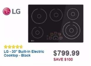 """Best Buy Weekly Ad: LG - 30"""" Built-In Electric Cooktop - Black for $799.99"""