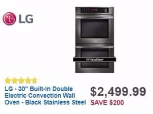 "Best Buy Weekly Ad: LG - 30"" Built-In Double Electric Convection Wall Oven - Black Stainless Steel for $2,499.99"