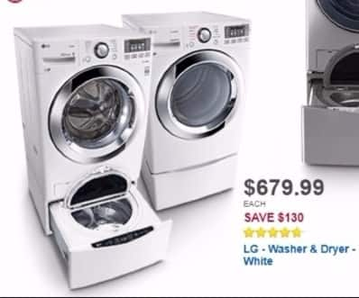 Best Buy Weekly Ad: LG 7.4 cu. ft. 10-Cycle Electric Dryer with Steam for $679.99
