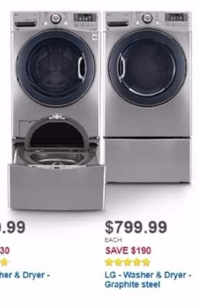 Best Buy Weekly Ad: LG 4.5 cu. ft. 12-Cycle Washer with Steam for $799.99