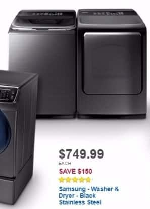 Best Buy Weekly Ad: Samsung 5.2 cu. ft. 12-Cycle High-Efficiency Washer with  Activewash for $749.99