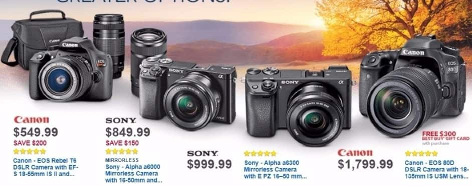 Best Buy Weekly Ad: Sony Alpha a6300 Mirrorless Camera with 16-50mm  Lens for $999.99