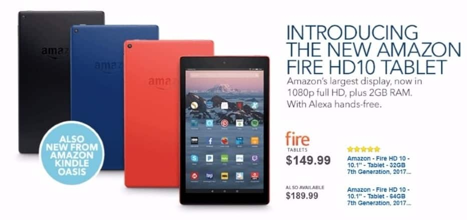"""Best Buy Weekly Ad: Amazon - Fire HD 10 - 10.1"""" - Tablet - 64GB 7th Generation, 2017 Release - Black for $189.99"""