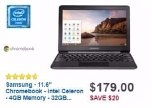 Best Buy Weekly Ad: Samsung Chromebook with Intel Celeron Processor for $179.00