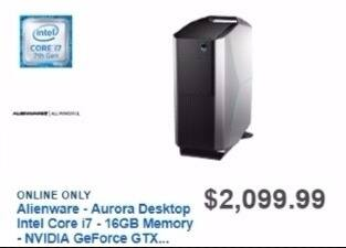 Best Buy Weekly Ad: Alienware Gaming Desktop with Intel Core i7 for $1,949.99