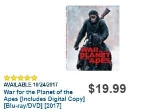 Best Buy Weekly Ad: War for the Planet of the Apes [Includes Digital Copy] [Blu-ray/DVD] [2017] for $19.99