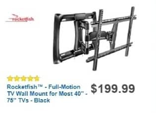 """Best Buy Weekly Ad: Rocketfish Full-Motion Mount for Most TVs 40""""-75"""" for $149.99"""