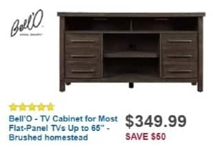 "Best Buy Weekly Ad: TV Cabinet for Most Flat-Panel TVs Up to 65"" - Brushed Homestead for $349.99"