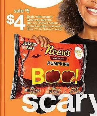 Target Weekly Ad: Reese's Halloween Snack Size Peanut Butter Pumpkins - 19.2oz/approx. 32ct for $5.00
