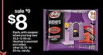 Target Weekly Ad: Hershey's® Halloween Snack Size All Time Greats Assortment - 33.65oz/94ct for $9.00