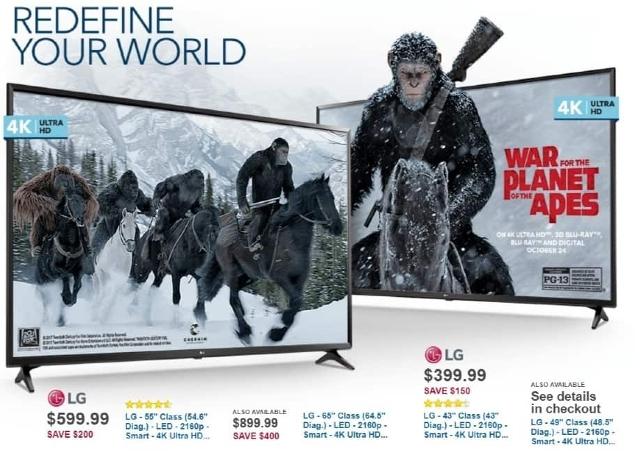 """Best Buy Weekly Ad: LG - 55"""" Class LED 4K Ultra HD Smart TV for $599.99"""