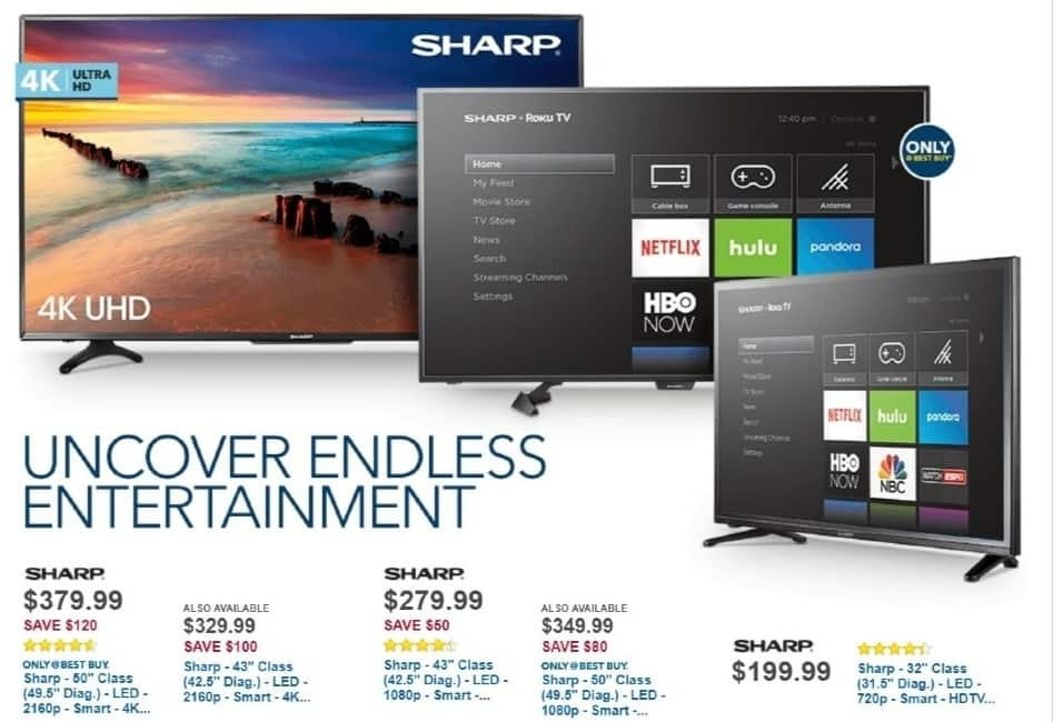 "Best Buy Weekly Ad: Sharp - 43"" Class LED 4K Ultra HD Smart TV (Roku) for $329.99"