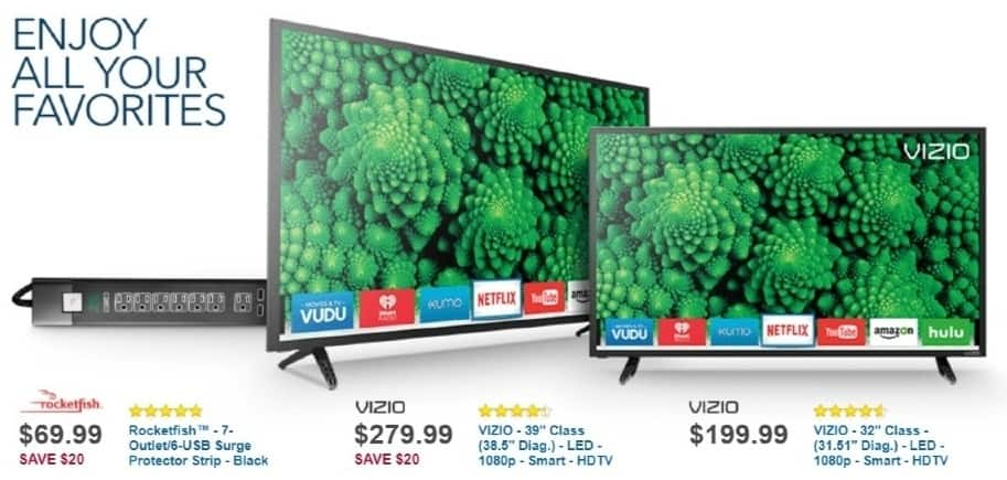 """Best Buy Weekly Ad: Vizio - 39"""" Class LED 1080p Smart HDTV for $279.99"""
