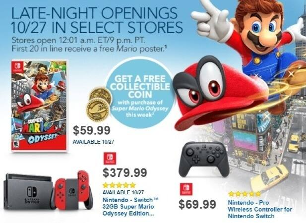 Best Buy Weekly Ad: Nintendo Switch 32GB Super Mario Odyssey Edition Bundle - Red Joy-Con for $379.99