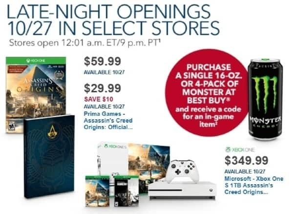 Best Buy Weekly Ad: Microsoft - Xbox One S 1TB Assassin's Creed Origins Bonus Console Bundle for $349.99