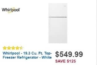 Best Buy Weekly Ad: Whirlpool - 19.3 cu. ft. Top-Freezer Refrigerator for $549.99