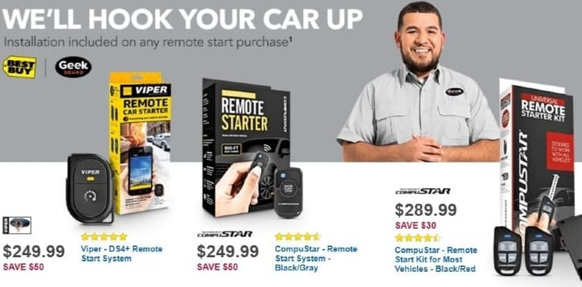 Best Buy Weekly Ad: Compustar Remote Start Kit with Bypass Module and Geek Squad Installation for $289.99