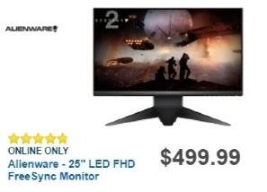 "Best Buy Weekly Ad: Alienware 25"" FreeSync Monitor for $429.99"