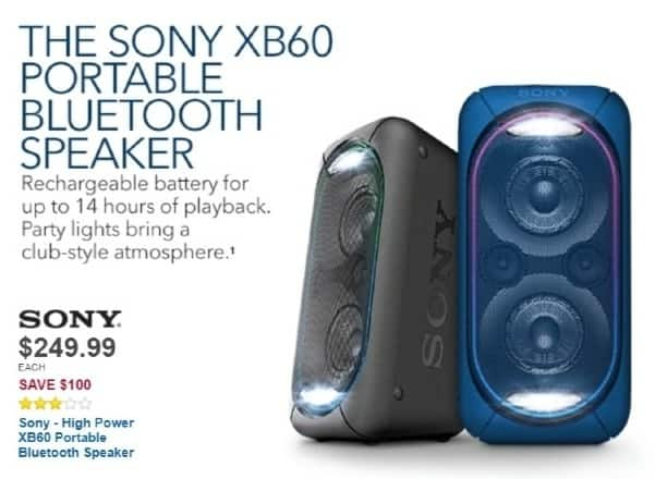 Best Buy Weekly Ad: Sony XB60 High Power Portable Bluetooth Speaker for $249.99