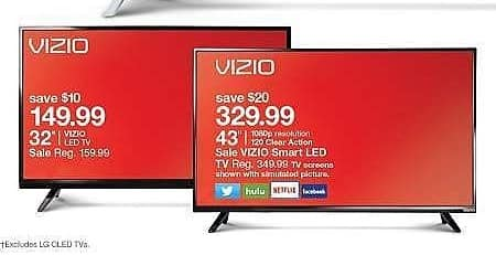 """Target Weekly Ad: VIZIO® D-Series 32"""" Class 31.50"""" Diag. 720p 60Hz Full-Array LED TV - D32hn-E0 for $149.99"""