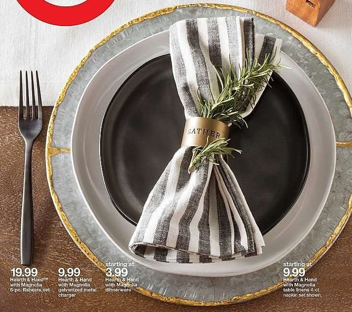 Target Weekly Ad: Galvanized Charger With Gold Welding - Hearth & Hand™ with Magnolia for $9.99