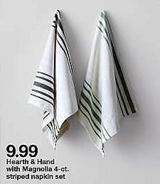 Target Weekly Ad: Hearth & Hand with Magnolia 4-ct. striped napkin set for $3.99