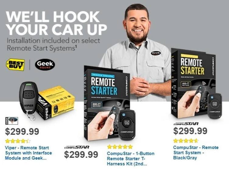 Best Buy Weekly Ad: CompuStar Remote Start System with Geek Squad Installation for $299.99