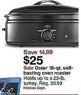 Target Weekly Ad: Oster® 18 Qt. Roaster Oven for $25.00