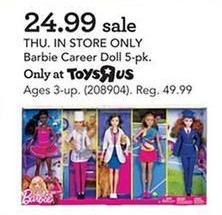 Toys R Us Black Friday: Barbie Career Doll 5-pk for $24.99