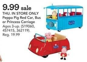 Toys R Us Black Friday: Peppa Pig Red Car, Bus or Princess Carriage for $9.99