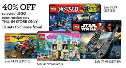 Toys R Us Black Friday: LEGO Construction Sets, Select Styles - 40% Off