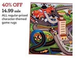 Toys R Us Black Friday: All Regular-Price Character-Themed Game Rugs - 40% Off
