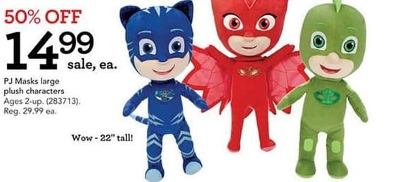 Toys R Us Black Friday: PJ Masks Large Plush Characters for $14.99