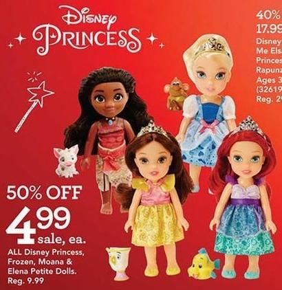 Toys R Us Black Friday: All Disney Princess, Frozen, Moana & Elena Petite Dolls for $4.99
