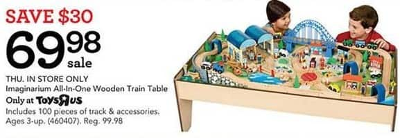 Toys R Us Black Friday: Imaginarium All-in-One Wooden Train Table for $69.98