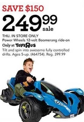 Toys R Us Black Friday: Power Wheel 12-Volt Boomerang Ride-On for $249.99