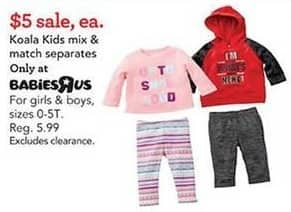 Toys R Us Black Friday: Koala Kids Mix & Match Separates for $5.00