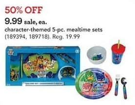 Toys R Us Black Friday: Character-Themed 5-pc. Mealtime Sets for $9.99
