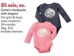 Toys R Us Black Friday: Carter's Bodysuits with Slogans for $5.00