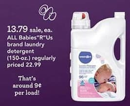 "Toys R Us Black Friday: All Babies""R""US Brand Laundry Detergent for $13.79"