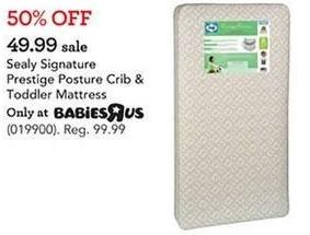 Toys R Us Black Friday: Sealy Signature Prestige Posture Crib & Toddler Mattress for $49.99