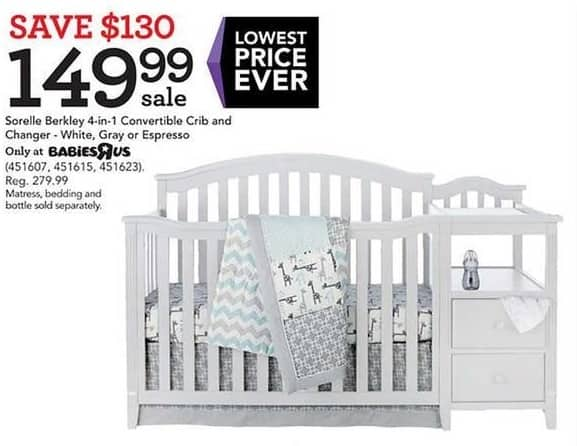 Toys R Us Black Friday: Sorelle Berkley 4-in-1 Convertible Crib & Changer for $149.99