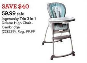 Toys R Us Black Friday: Ingenunity Trio 3-in-1 Deluxe High Chair for $59.99