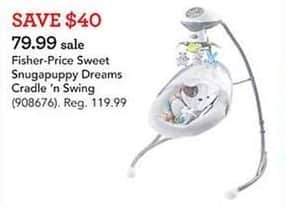 Toys R Us Black Friday: Fisher-Price Sweet Snugapuppy Dreams Cradle 'n Swing for $79.99
