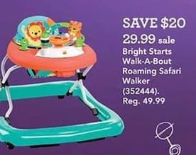 Toys R Us Black Friday: Bright Starts Walk-A-Bout Roaming Safari Walker for $29.99
