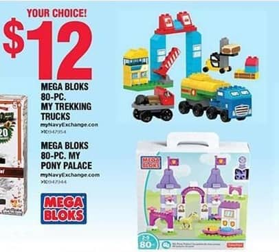 Navy Exchange Black Friday: Mega Bloks 80-pc. My Trekking Trucks Or Pony Palace for $12.00